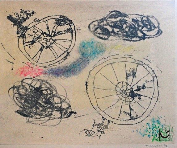 "Roundabout, Monotype, gouache + wax crayon, 8 x 10,"" 2016"