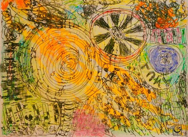 """Luna, Monotype, Gouache, wax crayon, pencil, 18 x 24,"""" 2016"""