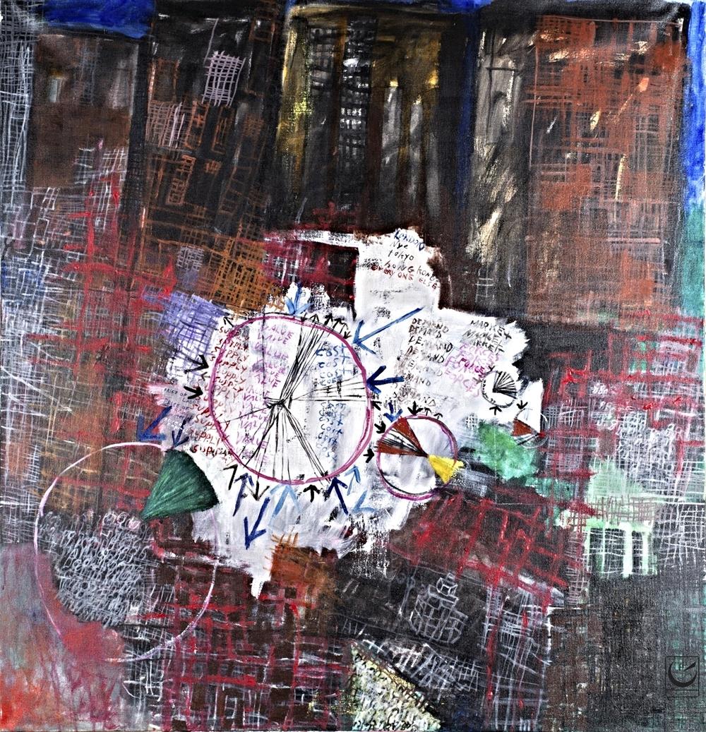 "Eco Supply + Demand, acrylic on canvas, 46 X 52,"" 1999"