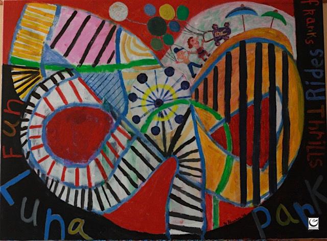"Luna Park Free Fall, acrylic on canvas, 30"" x 40,"" 2016"