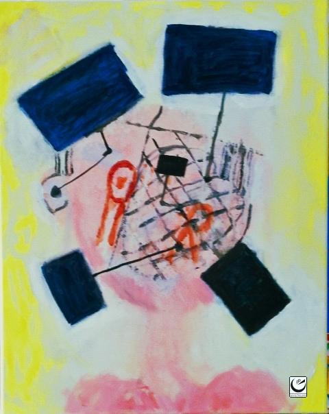 """Portrait of Screenman #1, 12"""" x 16,"""" 2016"""