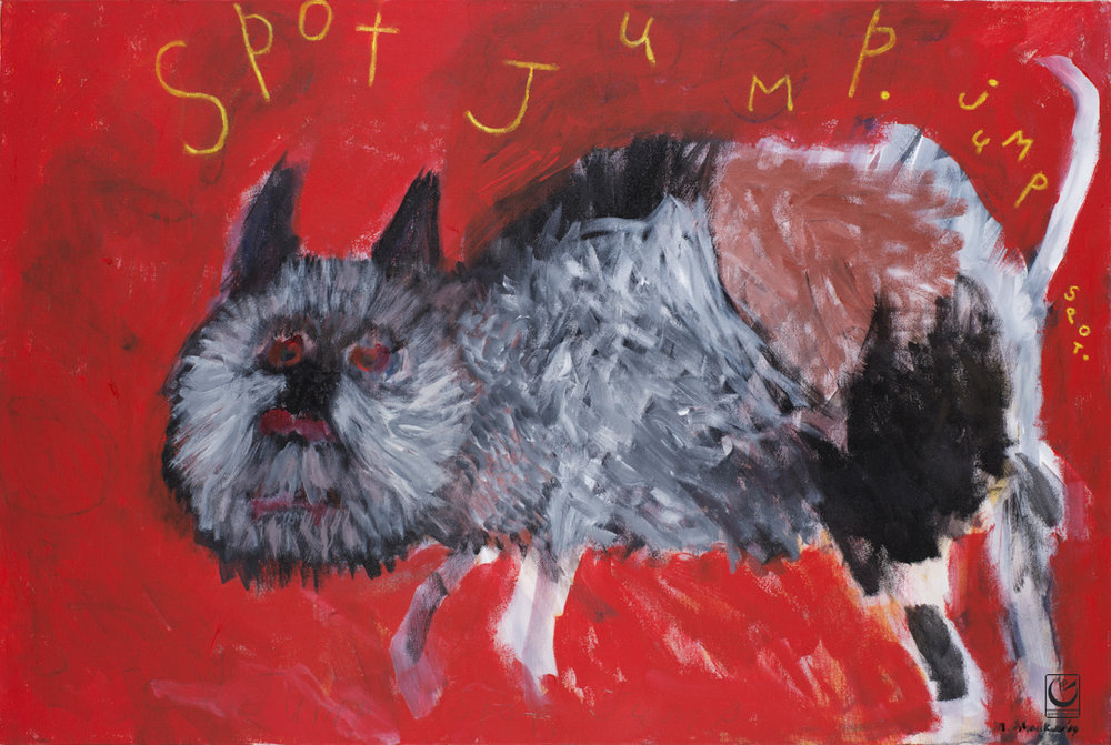 "Spot Jump Jump,  2015. Acrylic on canvas, 24"" X 36"""