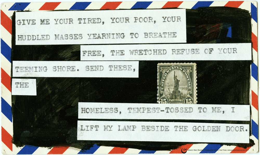 """LIBERTY'S CREED, 13"""" x 19,"""" collage on card stock, 2017"""