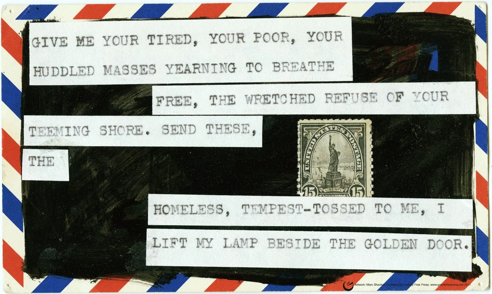 """LIBERTY'S CREED, 13"""" x 19,""""  collage on card stock, 2017 (Availabel as a poster. See """"Publications."""")"""