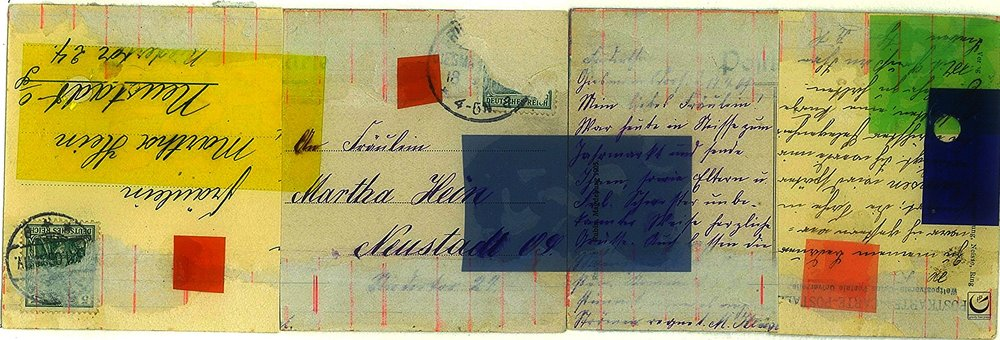 """Untitled, Collage of Postcards, Colored Plastic, 3 1/2 x 10,"""" 2014"""