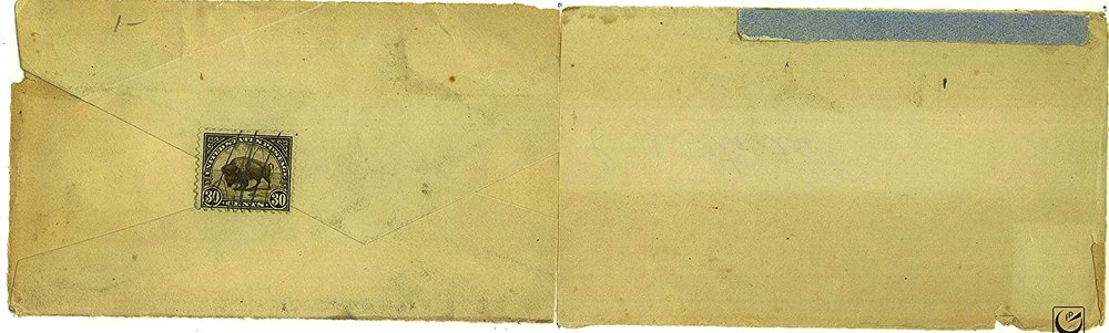 """Buffalo, 4 x 10,"""" envelope, stamp, colored paper, 2015"""