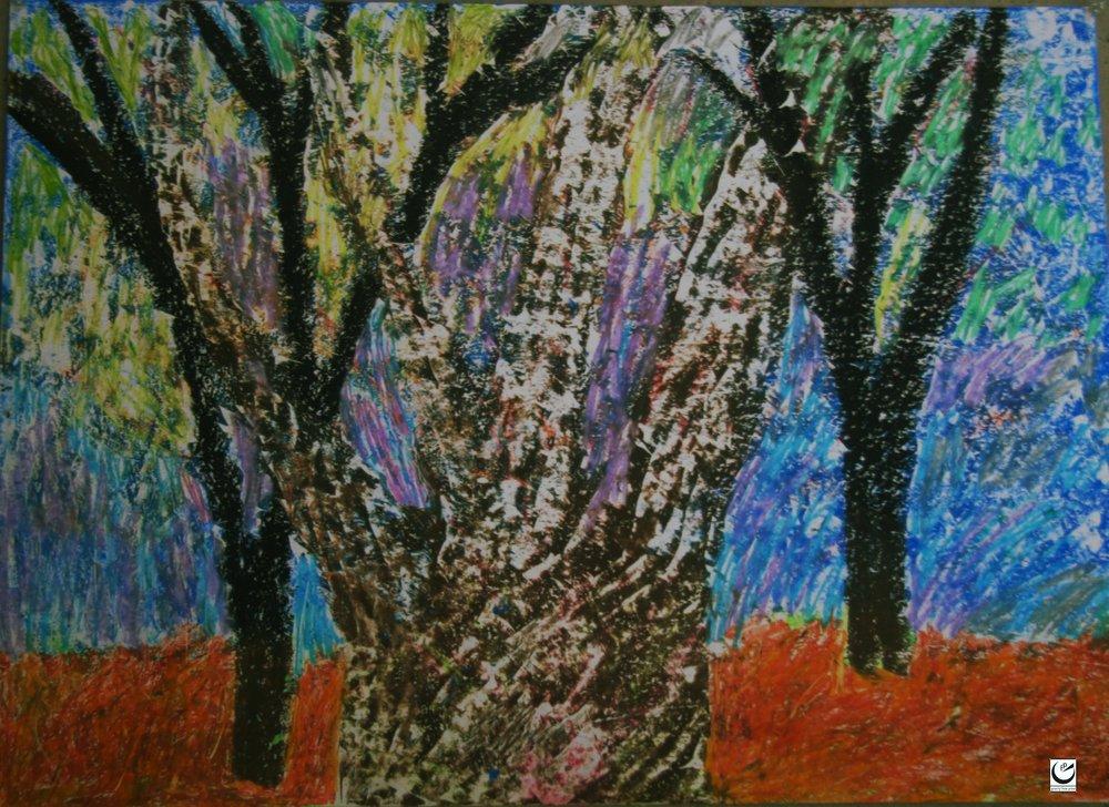 "Tree Series, 22"" x 30,"" wax crayon on paper, 2018"