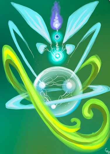 Sometimes I come across very odd energy bodies that do not follow the standard and this is one. The intense circular forms are energy centers like chakra points that spin in conjunction with one another. There is a lot of activity in the upper portion with those fan like structures capturing and directing information. The green swirling bits are constantly moving and act as all purpose appendages, splitting into long tendril like forms or into solid, shield like manifestations.     Art and Interpretation by Cat Mason