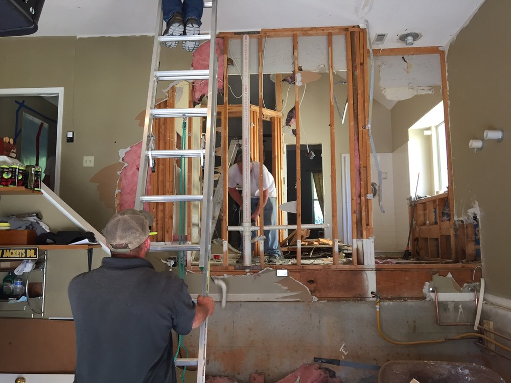 DEMOLITION - And now for the exciting stuff -- sledgehammers and careful demolition of existing walls.