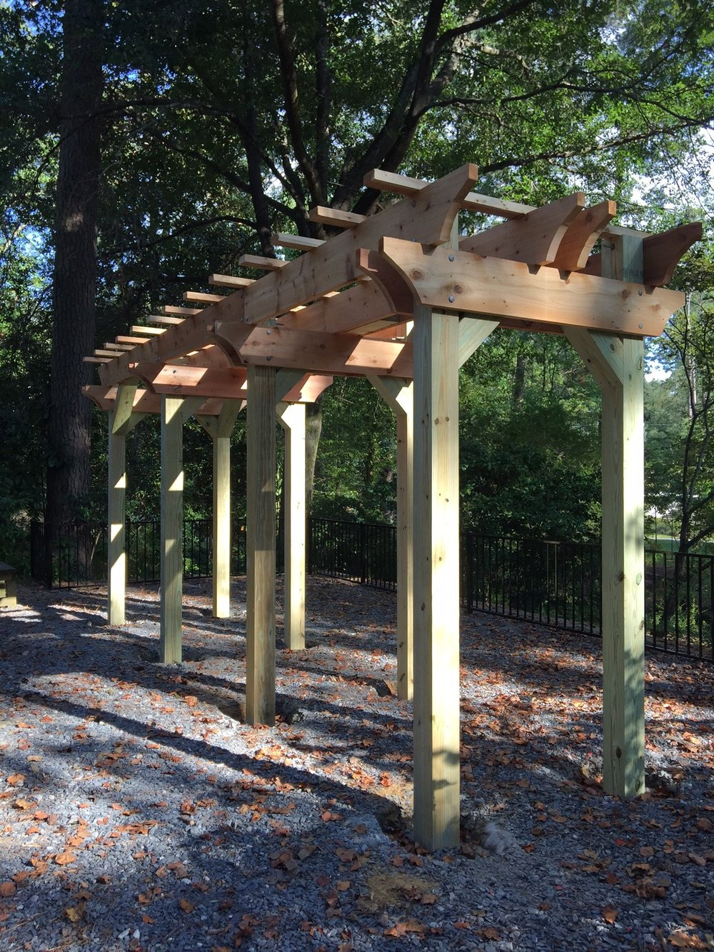 Portico for the future bench swings