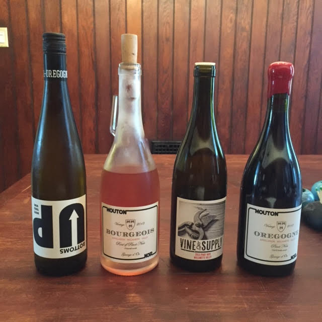 From L-R: Bottoms Up Riesling Blend, Bourgeois Rose, Vine & Supply Pinot Noir (not sold), Oregogne Pinot Noir