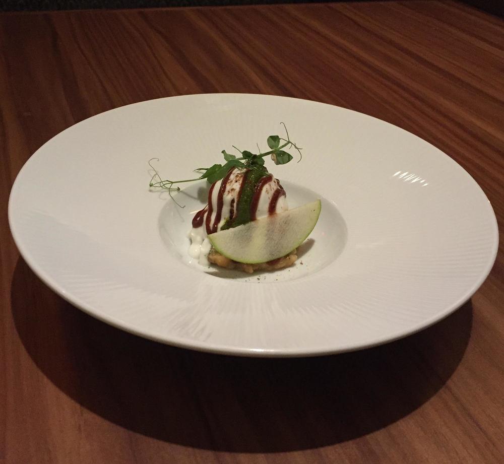 Potato Sphere Chaat, White Pea Mash