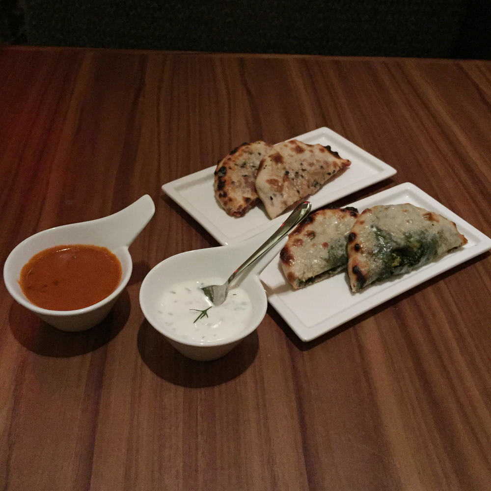 Pastrami and Saag Paneer Kulcha with Fennel Dill Raita and Black Dairy Dal