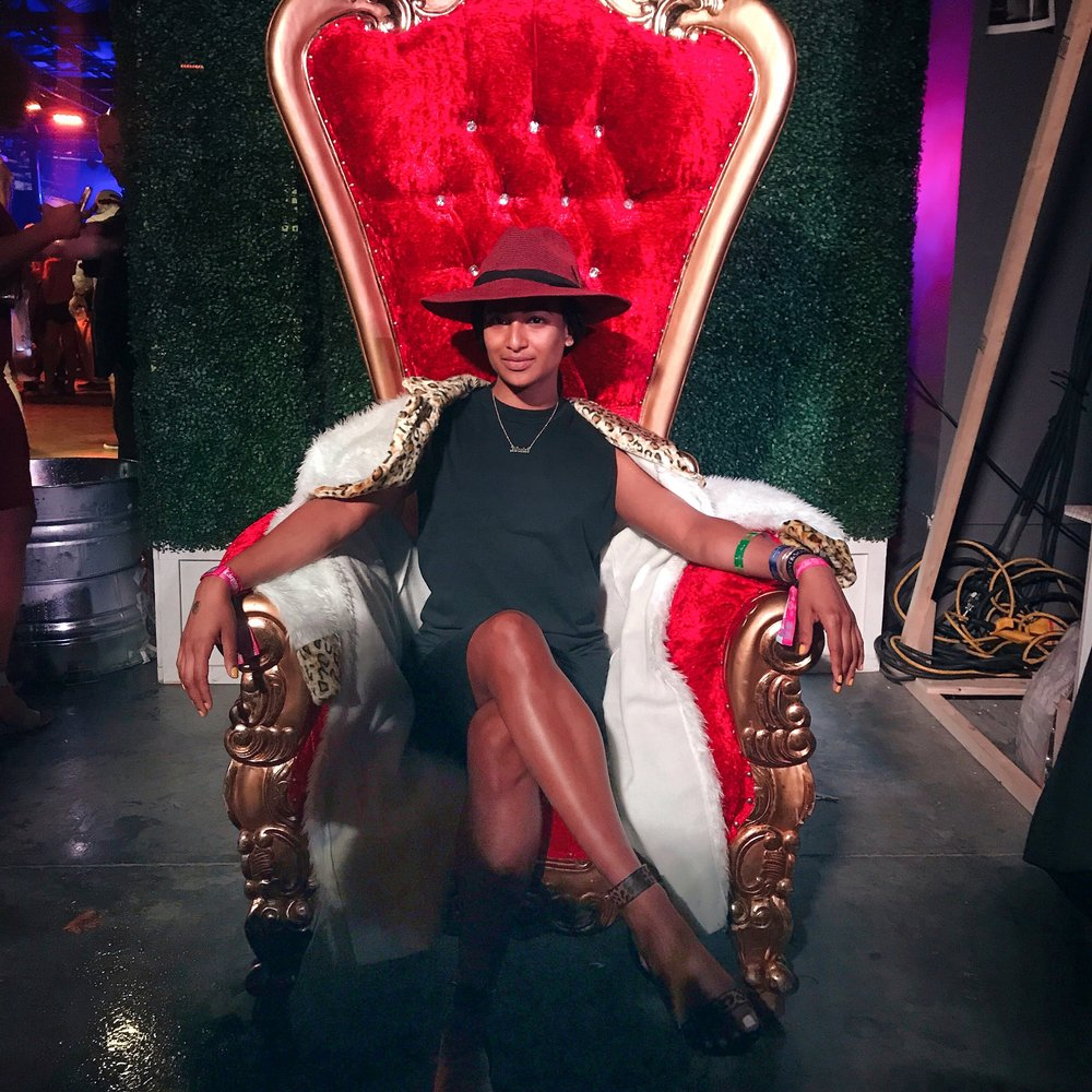 On the throne at Diageo's party, pre-Snoop Dogg concert