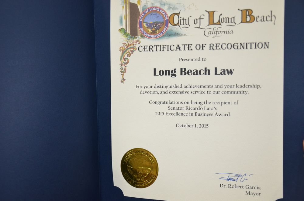 Long Beach Law attorney award
