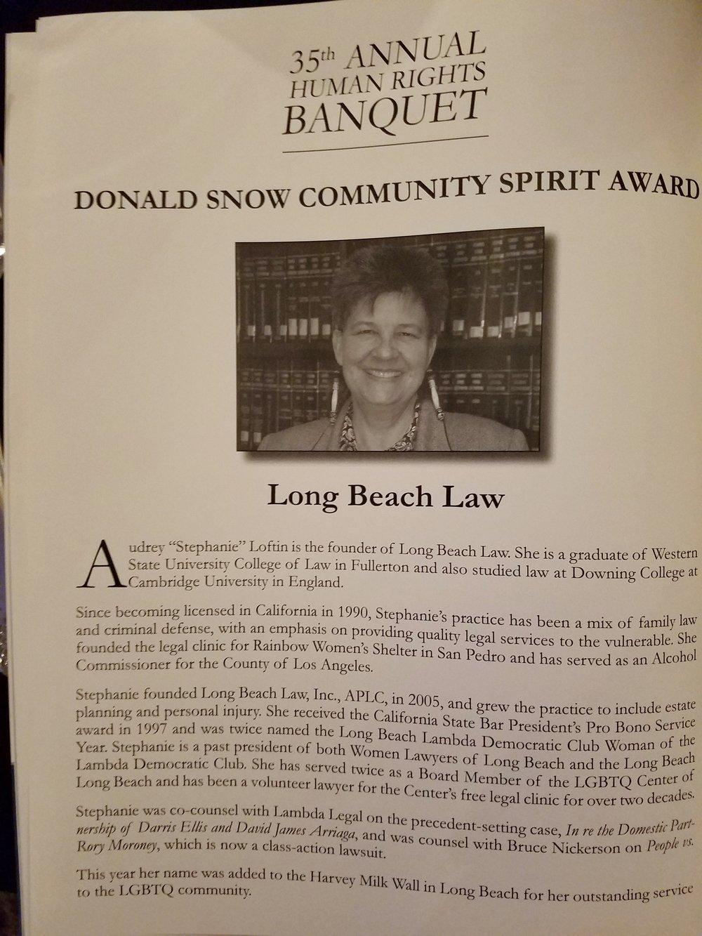 Audrey Stephanie Loftin Donald Snow Community Award.jpg