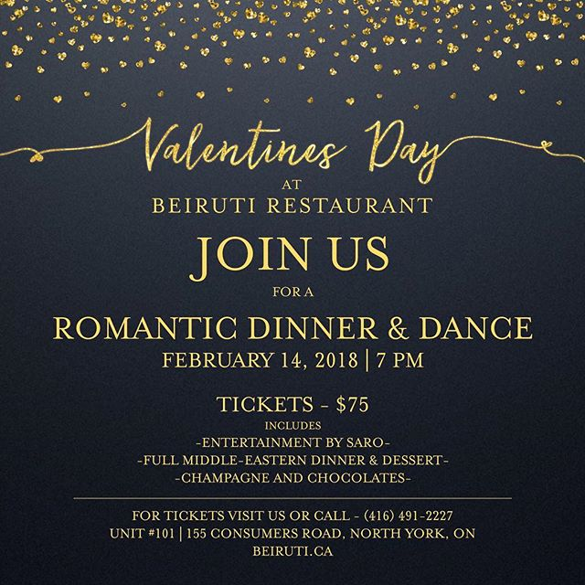 Looking for the perfect place for date night this Valentine's? Look no further! Join us at Beiruti for a romantic evening filled with great food and entertainment!  For tickets: Visit us or Call - (416) 491-2227