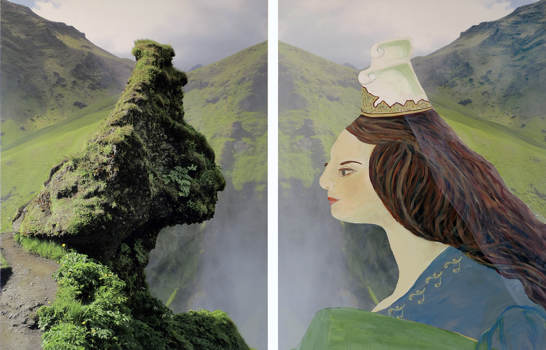 "Icelandia (a fairy tale from the time of the sagas), 2013, Acrylic ink and paint on canvas, 51"" x 80"""