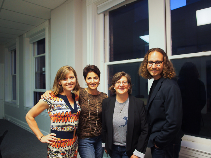 Boston Author Project opening at GrubStreet. Author Jane Roper and friends. Photo: Jean Kung