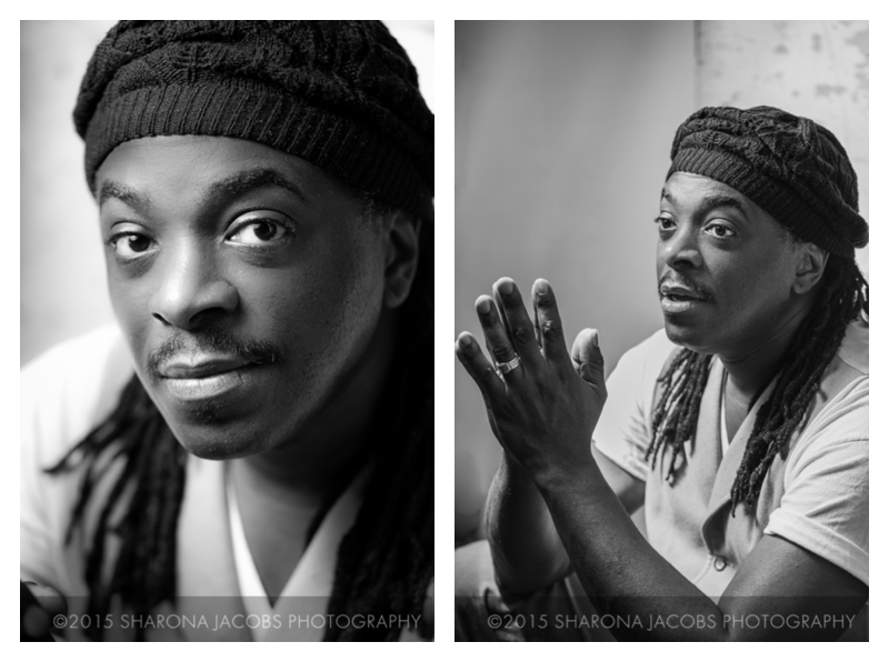 Portraits of slam poet Regie Gibson by Sharona Jacobs