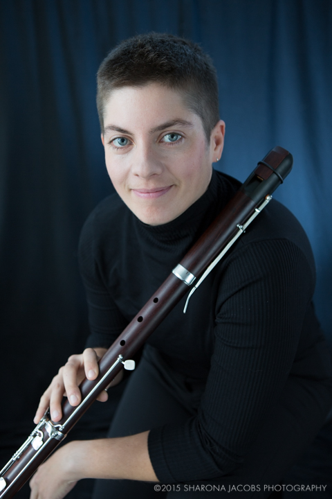 Classical musician, Emily O'Brien, with modern recorder in Boston, MA