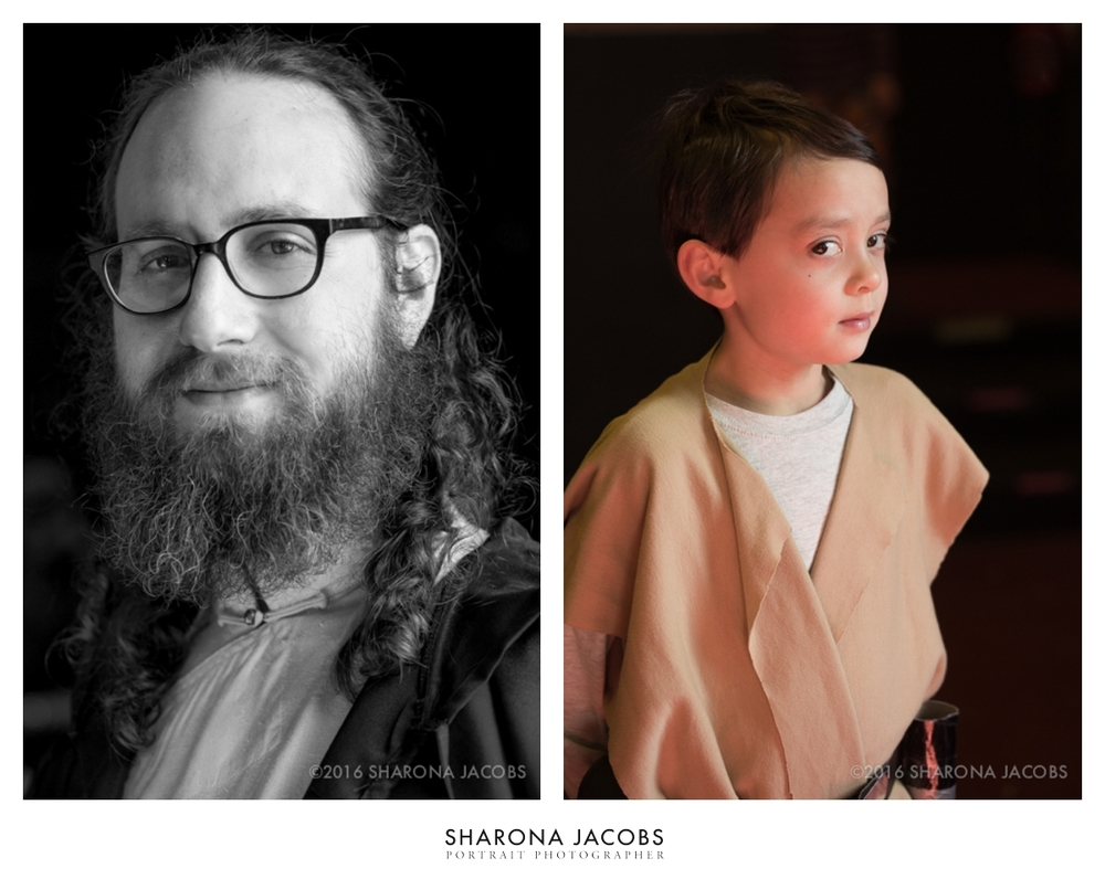Jeremy, on the left, as a rather rabbinical-looking Jedi knight, and Lewis, on the right, a good friend from karate as a young Skywalker.