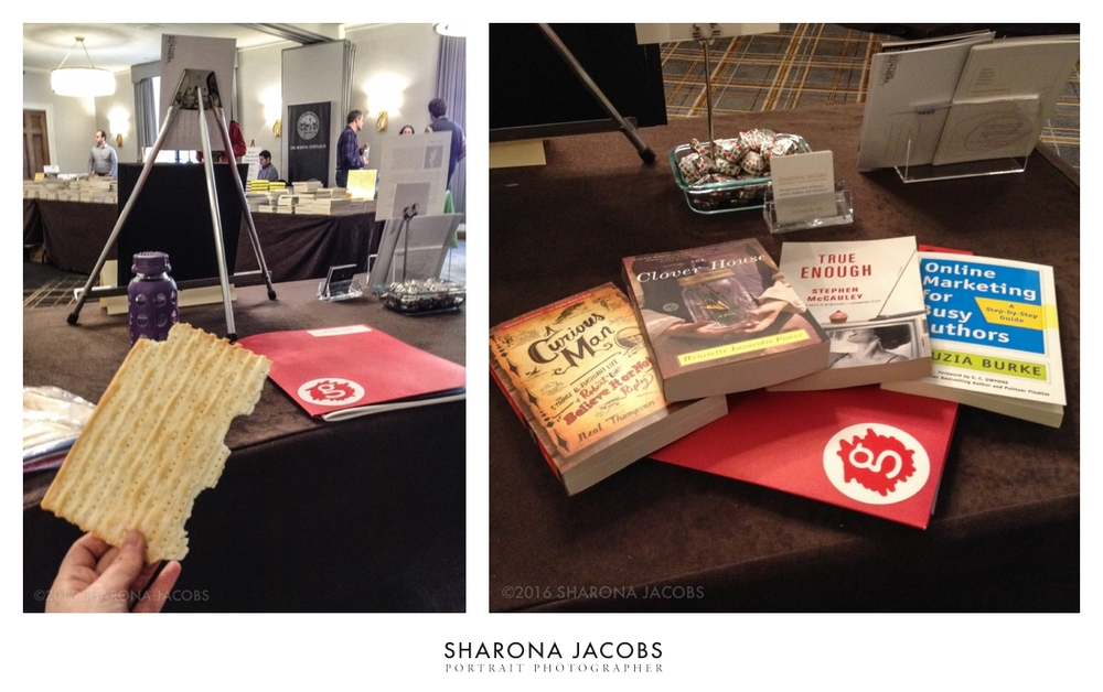 Snapshots behind the booth at the Muse in the Marketplace. From left, celebrating the last day of Passover, and right, my loot from Porter Square Books