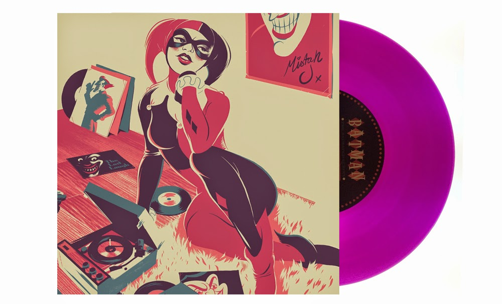 "San Diego Comic-Con 2014 Exclusive Batman The Animated Series 7"" Singles by Danny Elfman & Mondo - Harley Quinn by Matt Taylor.jpg"