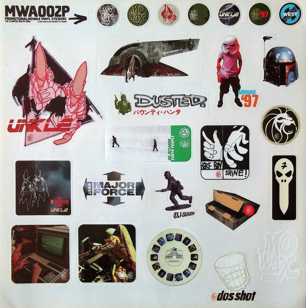 A sticker sheet by MoWax records