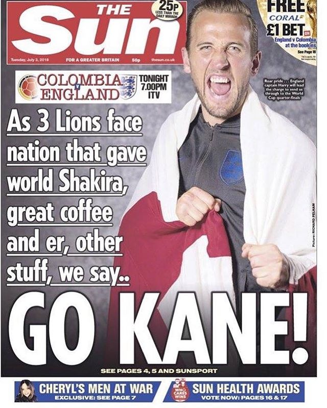 Fuck TheSun but this is a world-class pun #Repost @wheeleroffortune ・・・ #gokane #sun #worldcup2018 #england #v #colombia
