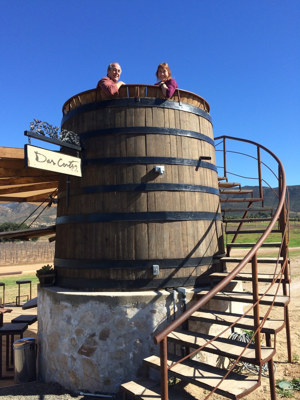 Princess cruise ship passengers Doug and his wife Linda on tour with BTK, enjoying the vineyard views from atop this unique wine barrel perch at Finca Altozano.