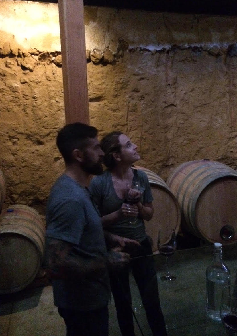 Brooke and her boyfriend on tour with BTK, enjoying the wine and unique cellar tasting room at Vena Cava Winery in the Valle de Guadalupe.