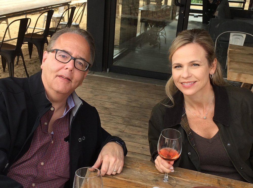Les and his wife enjoying a glass of Mexico's finest rosé while on tour in the Valle de Guadalupe wine region.