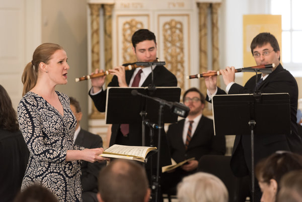 "From left, the soprano Megan Chartrand and the flutists David Ross and Immanuel Davis performing Bach's ""St. John Passion"" at St. Paul's Chapel, Trinity Church."