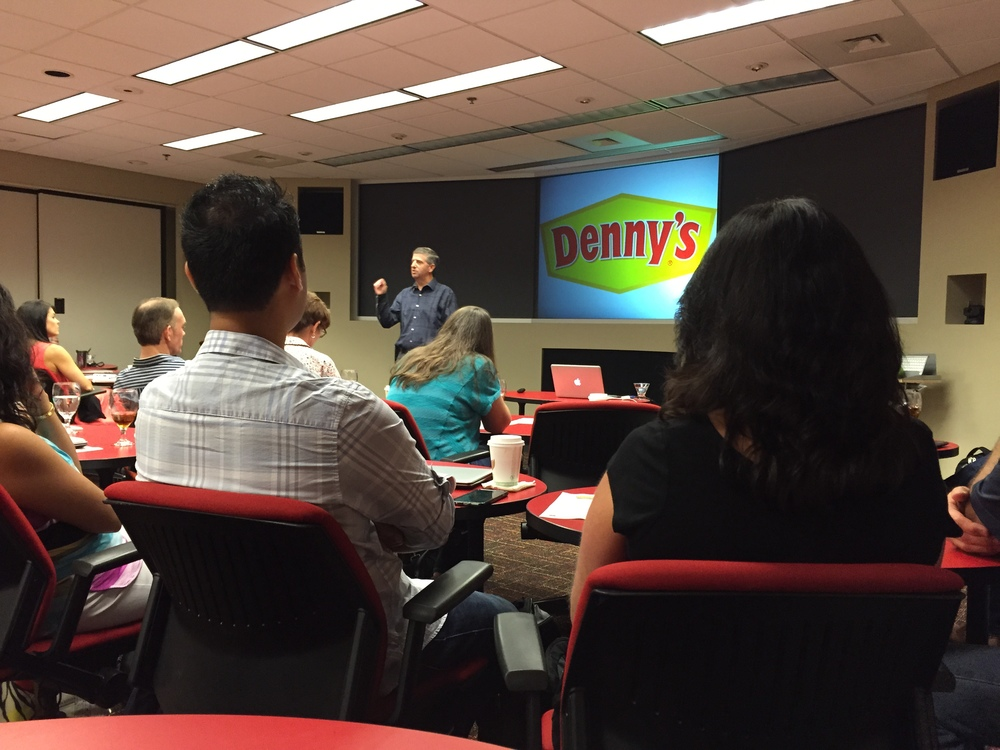 Funny motivational speaker Dave Fleming speaks to Denny's