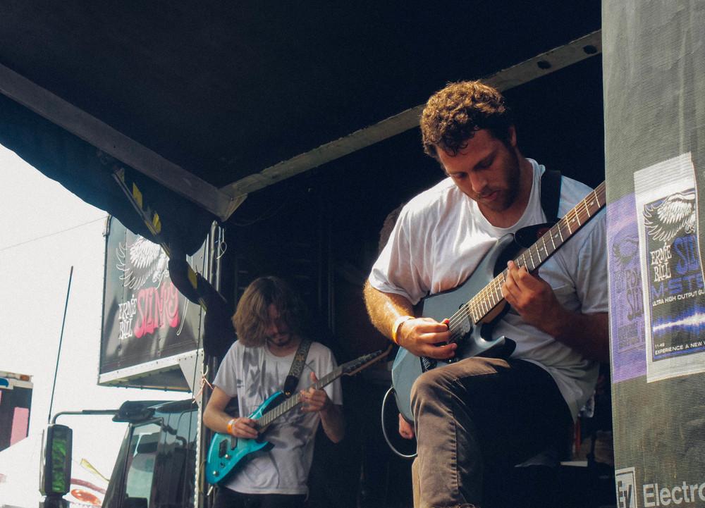 Guitarists Jordan Caylor and Jordan Thralls pick through complex riffs to round out Sirens' complex, progressive rock sound.