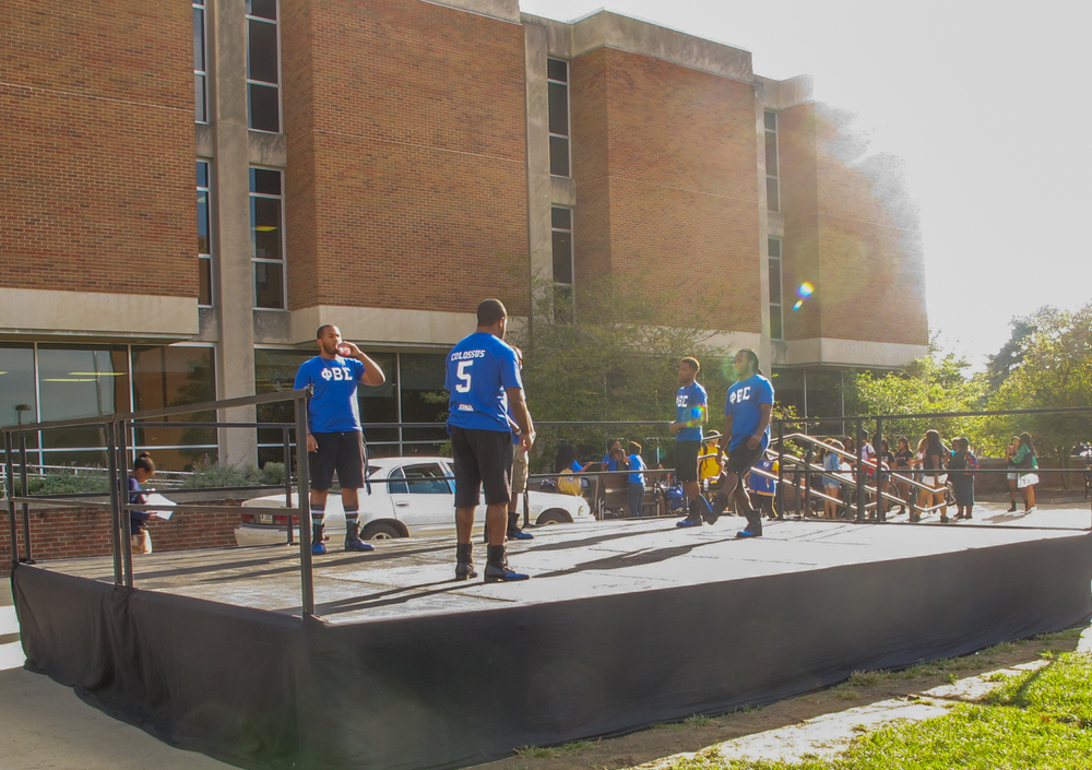 The brothers of Phi Beta Sigma get one last warm up before the Multicultural yard show on September 15, 2015.