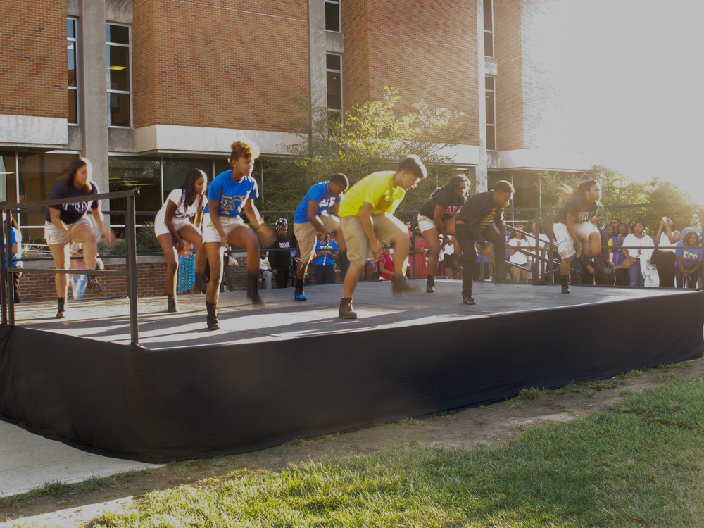 The brothers of Alpha Phi Alpha performed their routine first.