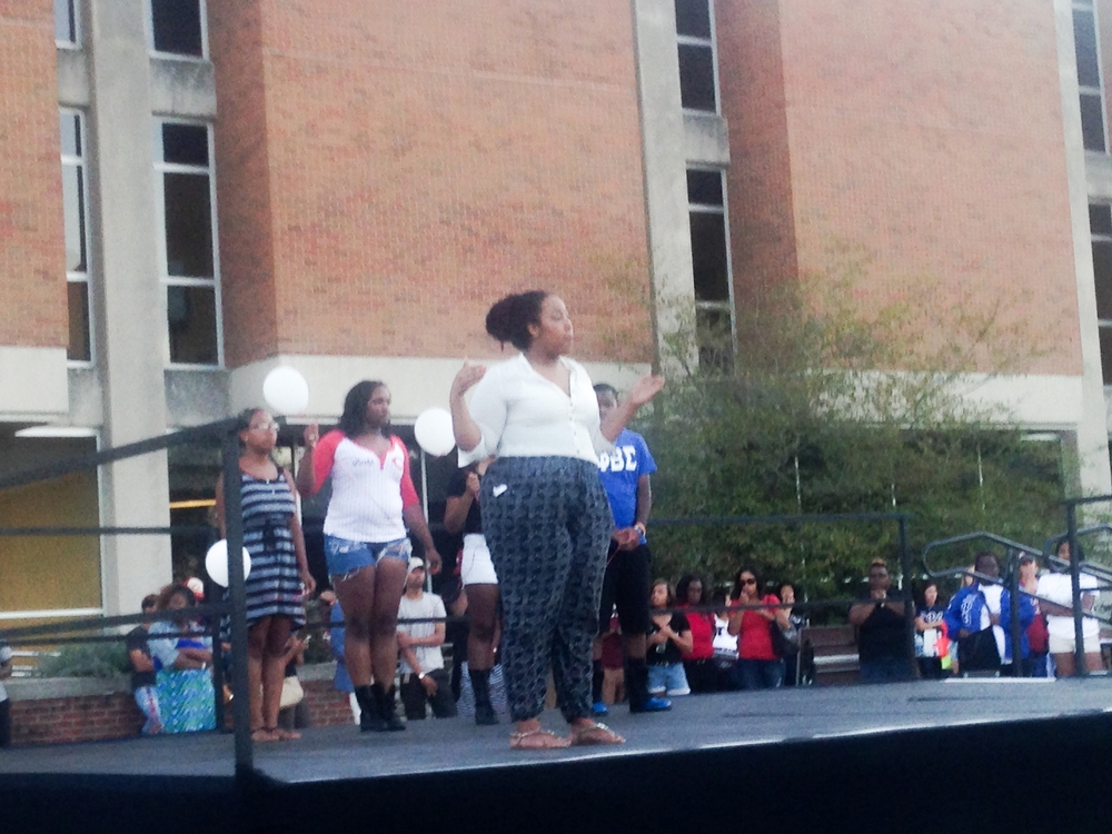 The sisters of Delta Sigma Theta kick off their routine in unision.