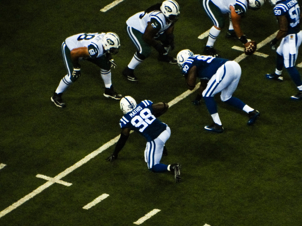 Robert Mathis (98) ready to rush the Jets line.