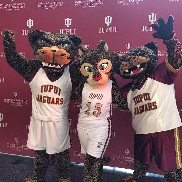 IUPUI's three mascots via the IUPUI Instagram account.