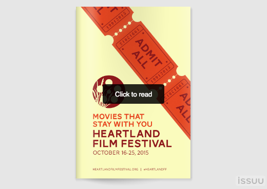 The 2015 Heartland FIlm Festival Guidebook displays all movies in the festival with a short description, screening times and locations for each.