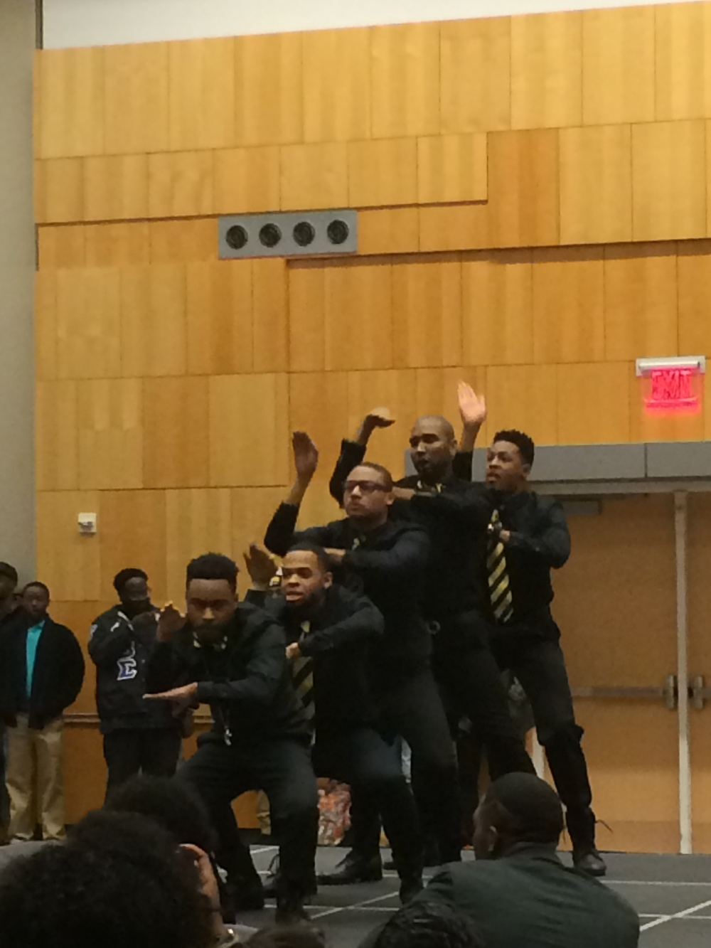 Alpha Phi Alpha in mid-movement during their second routine.