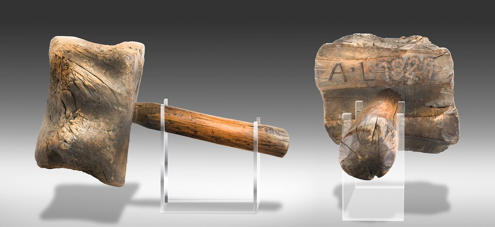 The Lincoln bench mallet, which will be on display at the Indiana State Museum through 2016 (photo courtesy of the Indiana State Museum).