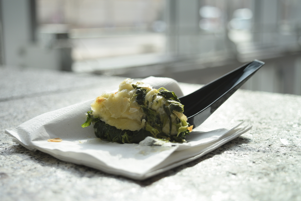 Flaky spinach pie from Turkey, one of the sampled dishes.