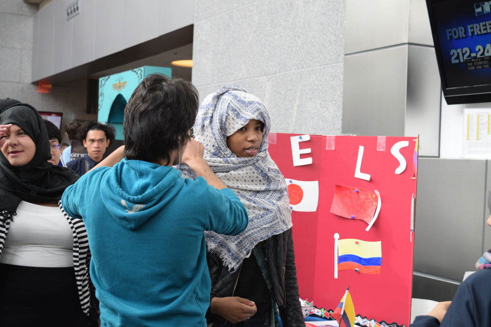 Students could try on a hijab at the ELS Language Centers booth.