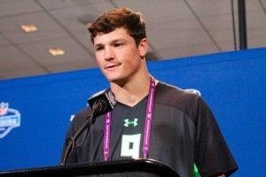 Former Penn State quarterback Christian Hackenberg speaks Thursday at the NFL Scouting Combine in Indianapolis. (Photo by Kim Dunlap)