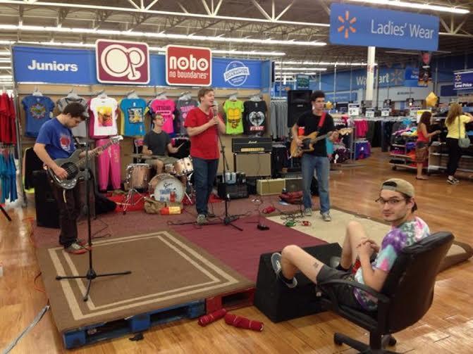 The Cowboys performing at the Bloomington Walmart