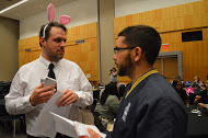 The Rabbit, played byJeremy Haas, is interviewed by Jorge Cavell, an IUPUI junior.