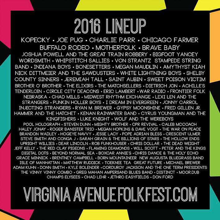 Festival lineup for Virginia Avenue Folk Fest